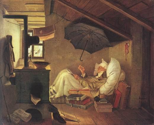 Carl Spitzweg: Der arme Poet (1839), Leinwand, 36×45 cm, Neue Pinakothek München